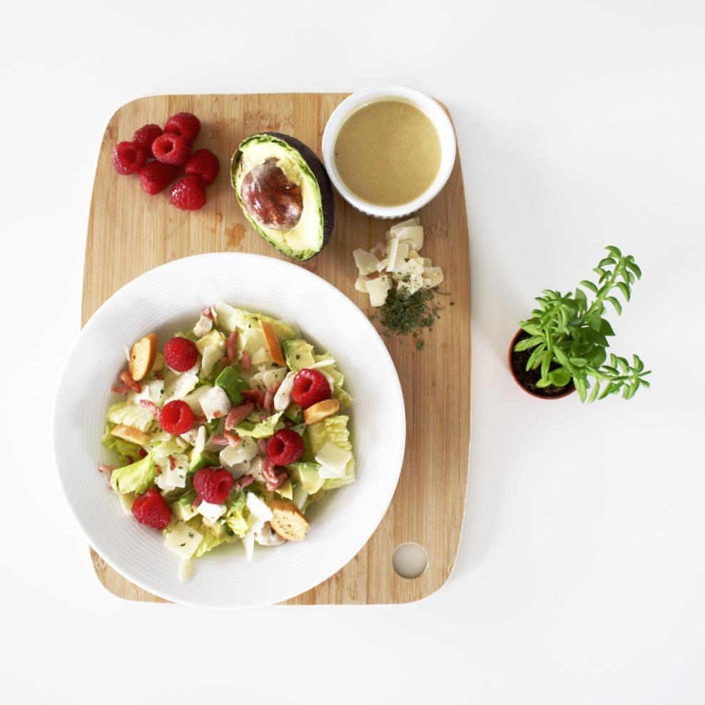 salade ceasar à la framboise